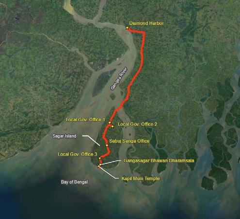 Map of Sagar Island route